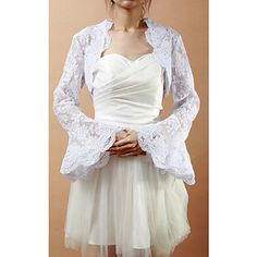 Exquisite Long Bell Sleeve Lace Wedding/Evening Jacket/Wrap (More Colors) – USD $ 49.79