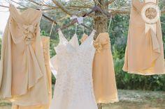 wedding details, bride and bridesmaids dresses