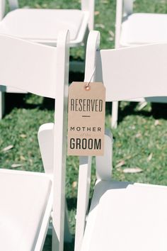 Love these reserved seat tags!