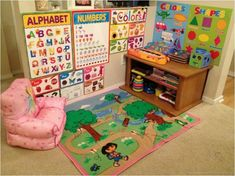 Get posters and other learning things from Dollar Tree to decorate nursery or playroom. Make it education and fun. Toddler Playroom, Toddler Rooms, Toddler Learning, Toddler Fun, Toddler Activities, Kids Playroom Ideas Toddlers, Toddler Play Area, Circle Time Activities, Preschool Learning Activities