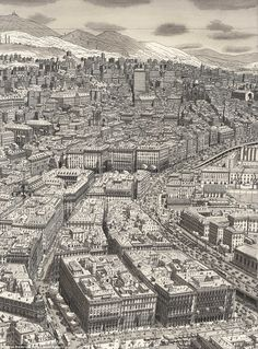 Trip down memory line: Artist draws incredibly detailed pictures of famous cities entirely from MEMORY Cityscape Drawing, City Drawing, Amazing Drawings, Detailed Drawings, Sad Drawings, Architecture Drawings, Historical Architecture, Line Artist, New York Art