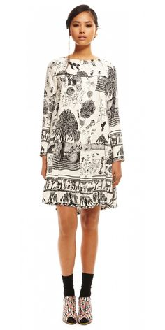 SUNO fall Long Sleeve Pleated Front Dress