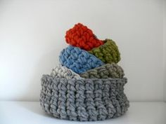 Korb - handmade crocheted baskets out of new wool, colored with natural colors
