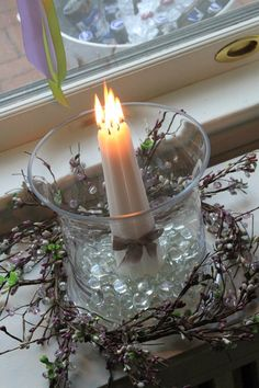 Taper candle grouped together for your centerpieces.
