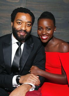 Actors Chiwetel Ejiofor and Lupita Nyong'o at the FOX after party