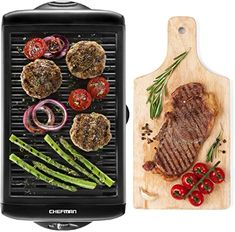 Best Seller Chefman Electric Smokeless Indoor Grill w/ Non-Stick Cooking Surface & Adjustable Temperature Knob Warm Sear Customized BBQ Grilling, Dishwasher Safe Removable Water Tray, Black online - Nicetopnice Barbecue Grill, How To Peel Peaches, Water Tray, Grill Plate, Indoor Grill, Grilled Veggies, Grilled Food, Bbq Tools, Drip Tray