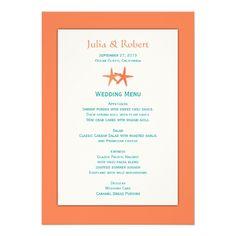 Orange and Blue Starfish Couple Wedding Menu Invite