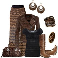 Chevron Skirt and Tall Boots