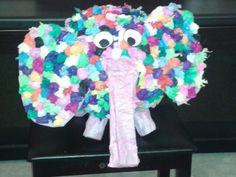 Elmer the elephant piñata - my homemade version.