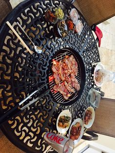 Build in grill on my outdoor table. Great for Korean BBQ. Korean Bbq At Home, Korean Bbq Grill, Outdoor Bbq Kitchen, Outdoor Oven, Cajun Microwave, Grill Table, Barbecue, Teppanyaki, Bbq Party