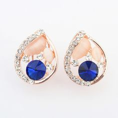 Zinc Alloy #Stud #Earring, with #Cats Eye, Teardrop, real gold plated  http://www.beads.us/product/Zinc-Alloy-Stud-Earring_p248992.html?Utm_rid=194581