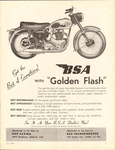 1958 BSA Golden Flash Motorcycle - x Matted Vintage Print Ad Art Norton Motorcycle, Motorcycle Posters, Motorcycle Garage, Vintage Bikes, Vintage Ads, Vintage Prints, Vintage Posters, British Motorcycles, Vintage Motorcycles