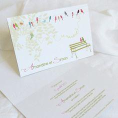 Faire part de mariage Sur un Fil, Editions Créatives EC-M040 www.mariage-faire-part.fr