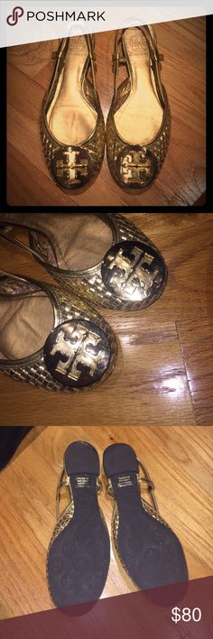 Tory Burch Logo-Embellished Slingback Flats Logo shows slight signs of wear and fading but nothing major. Soles are immaculate! Very comfortable and flattering shoe. Tory Burch Shoes Flats & Loafers