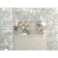 Glasperlen - Box, bergkristall (7,82 EUR/100 g)