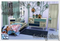Pilar's Cassandre Bedroom recolor by Oldbox at All 4 Sims via Sims 4 Updates
