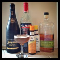 Boothby cocktail: 2 oz Rye Whiskey (or Bourbon) 1 oz Sweet Vermouth 2 Dashes Angostura Bitters* Float of Champagne or Sparkling Wine