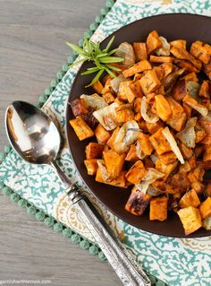 Rosemary Roasted Sweet Potatoes and Onions -- just a few simple ingredients, and goes great with anything. Makes nice leftovers, too.