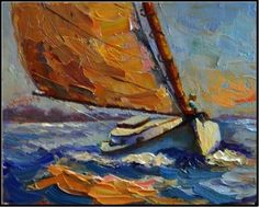 """Daily Paintworks - """"Cattin Around, 8x10, oil on canvas panel-paintings of cat boats, Cape Cod cat boats, sailboats, i"""" - Original Fine Art for Sale - © Maryanne Jacobsen"""
