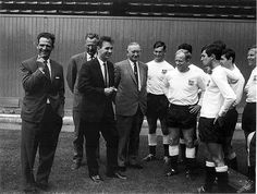 Manager Brian Clough (Derby County FC, 1967–1973) meets the Derby County players shortly after his appointment in 1967.