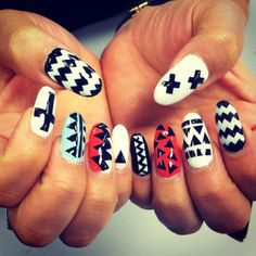 White Nails With Designs Tumblr Black adn white with a splash