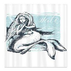 Postcard Mermaid Shower Curtain. So pretty!
