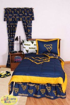 College Covers West Virginia Mountaineers Bed-in-a-Bag w/White Sheet Set