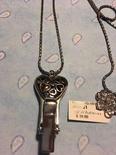 Brighton Necklace Lanyard Floating Heart Crystal  Badge clip NWT  | eBay