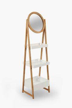3 Tier Bamboo Shelf With Mirror - Bathroom Storage - Shop Bathroom - B Box Shelves, Storage Boxes, Storage Shelves, Large Furniture, New Furniture, Bamboo Shelf, Bathroom Storage Solutions, Living Room Accessories, Living Room Shelves