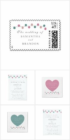 """String Lights Wedding Invitation Suite - Our """"string lights"""" wedding collection offers a beautiful wedding suite designed in three coordinating colors - pink, turquoise and white. You can find most of the products in this collection in all three color options, giving you the option to mix and match."""