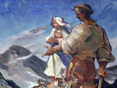 Slovak painter Martin Benka: People and mountains, 1941 Bearded Tattooed Men, Bearded Men, Different Kinds Of Art, Native American History, Mountain Man, Funny Art, Art And Architecture, Celebrity Weddings, Martini