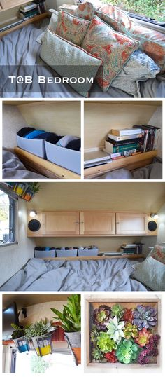 After photos: bedroom redecorated T@B trailer. In the Tab S, the living room folds down into a spacious king sized beds. We may be living tiny, but that doesn't mean we can't be comfy when we sleep!