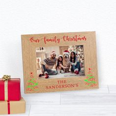 Photo Gift for Christmas Family Picture Frame Wood Engraved 5x7