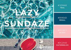 "101 Color Combinations to Inspire Your Next Design – Pool Daze Color Palette ""Not my colors but it works with hip casual designs Colour Pallette, Color Combinations, Color Schemes, Design Blog, Web Design, Couleur Hexadecimal, Rainy Day Images, Patio Images, Pool Colors"