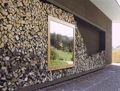Revetement mur buche de bois