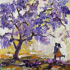 Love Under The Jacaranda Tree 20 x 20 inches by GinetteFineArt, $220.00