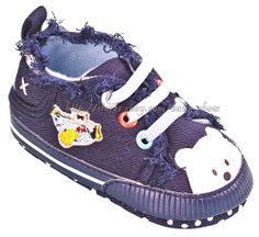 813f7fe07e5fa Baby Boys Girls Bear Denim Crib Shoes Soft Sole Walking Sneakers Size 2 3 4
