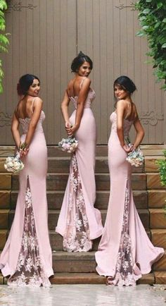 Spaghetti Straps Lace Bridesmaid Dress,New Arrival Pink Bridesmaid Dresses Quality Mermaid Bridesmaid Dresses,See Through Back Bridesmaid Gowns,Custom Made Wedding Party Dress,Long Bridesmaid Dress BUT IN BLACK Pink Bridesmaid Dresses Uk, Wedding Bridesmaids, Bride Maid Dresses, Bridesmaid Quotes, Backless Bridesmaid Dress, Bohemian Bridesmaid, Black Bridesmaids, Bridesmaid Outfit, Wedding Bouquet
