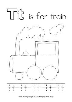 A complete set of original tracing alphabet worksheets for kids - a fun way to learn and practice writing the alphabet! Train Crafts Preschool, Trains Preschool, Abc Preschool, Preschool Letters, Preschool Worksheets, Preschool Classroom, Preschool Activities, Fun Crafts, Letter T Worksheets