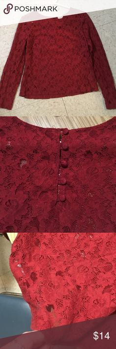 Lace Blouse Long sleeve deep red lace blouse! High scoop neck with buttons along back. H&M Tops Blouses