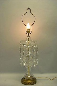 Vintage Crystal Gl Table Lamp Light With 10 Spear Prisms
