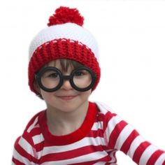 Where's Waldo? And easy DIY costume for Halloween but also great for pretend play. Hat pattern included!