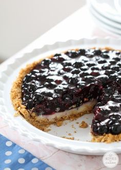 Blueberry Custard Pie with Graham Cracker Crust by Homemade Recipes at http://homemaderecipes.com/holiday-event/24-recipes-for-blueberry-pie-day