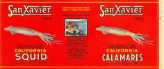 "Vintage Calamari Label    ""Satisfies Your Need For A Good Sea Food"""