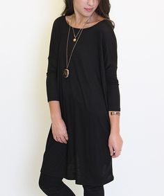 Look at this Caralase Black Scoop Neck Tunic on #zulily today!