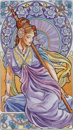 La reine de bâtons - Tarot art nouveau par Antonella Castelli
