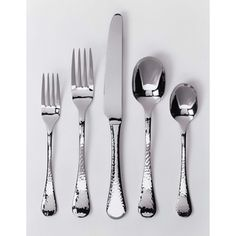 @Overstock.com - Ginkgo Lafayette 42-Piece Stainless Steel Flatware Set - Add a sense of elegance to mealtimes with this 42-piece stainless-steel flatware set. All the utensils share a beautiful hammered finish design that adds texture to each piece, creating a traditional look that looks great with even your finest china.  http://www.overstock.com/Home-Garden/Ginkgo-Lafayette-42-Piece-Stainless-Steel-Flatware-Set/7588276/product.html?CID=214117 $88.57
