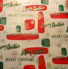 Vintage 1950's Christmas Wrapping Paper, Coloful Holiday Greetings | eBay