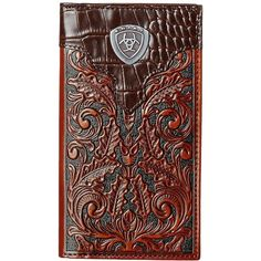 Ariat Tooled Rodeo Wallet with Gator Tab and Logo Concho (Brown) ($45) ❤ liked on Polyvore featuring men's fashion, men's bags, men's wallets, mens checkbook wallet and mens brown leather wallet