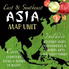 Asia Map Unit: East & Southeast Regions with Outline Maps
